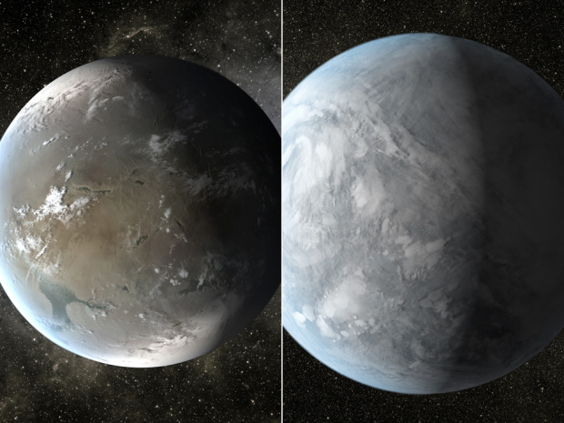 """Kepler 62f, left, and Kepler 62e, right, are the two best candidates so far for truly """"Earth-like"""" planets."""
